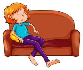 A woman resting at the sofa