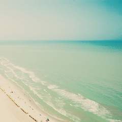 Vintage summer beach seen from above