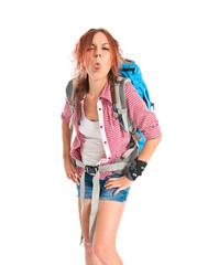 backpacker doing a joke over isolated white background