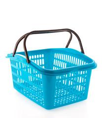 Shopping plastic basket isolated on white background
