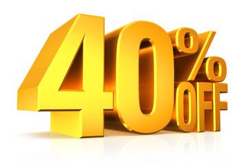 3D render gold text 40 percent off.