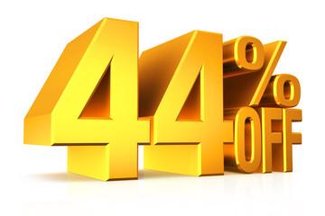 3D render gold text 44 percent off.