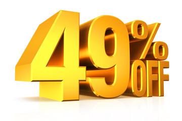 3D render gold text 49 percent off.