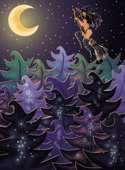Halloween night background with forest witch, vector