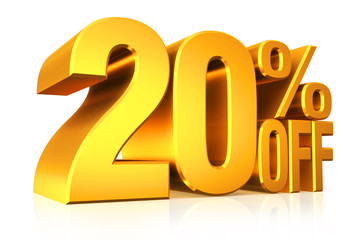 3D render gold text 20 percent off.