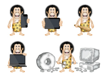 caveman with new technology gadgets