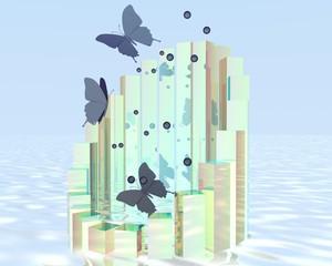 abstracte ijs vlinder geboren uit oceaan