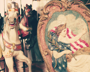 Vintage Carousel Horse and carriage