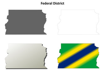 Federal District blank outline map set