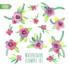 Violet watercolor set. Elements for design in vector.