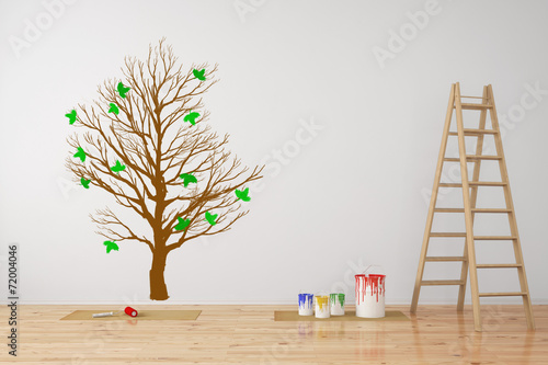 Wand Mit Baum Als Wandtattoo Stock Photo And Royalty Free Images On