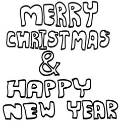 MERRY CHRISTMAS AND HAPPY NEW YEAR hand lettering