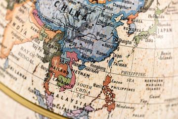 地球儀 東アジア 東南アジア