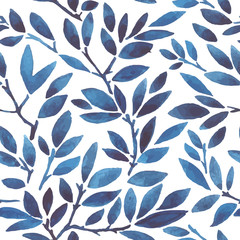 watercolor seamless pattern leaves