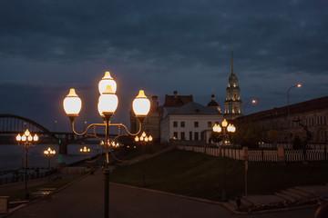 Printed kitchen splashbacks Delhi Lanterns on quay of Rybinsk