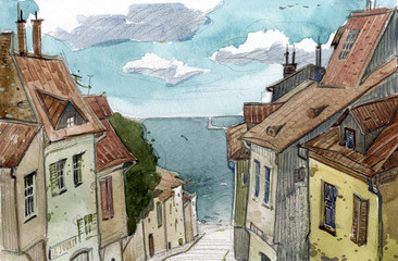 Watercolor sketch of the old European streets