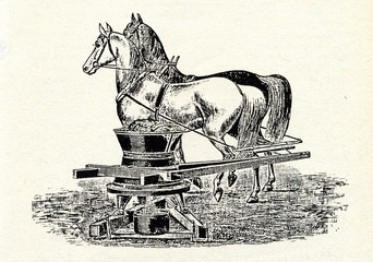 Horse driven grinder for grain and root vegetables