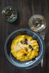 Pumpkin and saffron risotto with parmesan and pumpkin seeds