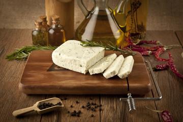Dill feta cheese concept photo