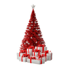 Red Christmas tree with white gifts