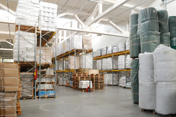 warehouse with rolls