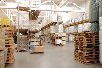 warehouse with pallets