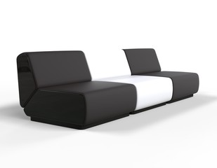 Modern Black and White Lounge chairs.