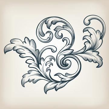 vector vintage Baroque frame scroll pattern