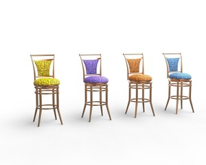 Multicolored coffee shop chair isolated on white background.