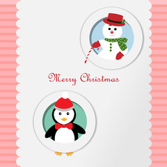 Merry Christmas Snowman and penguin