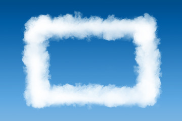 smoke cloud photo frame on blue sky background