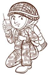 A plain sketch of a soldier