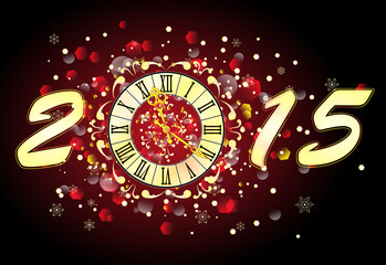 Christmas background with clock, banner, vector illustration