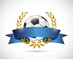 soccer ribbon laurel banner illustration