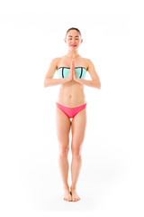 model isolated on plain background praying wishing