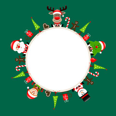 Santa, Rudolph, Tree, Elf & Snowman Symbols Green Round Frame