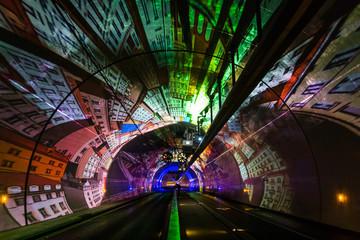 Foto auf AluDibond Tunel Tunnel Modes Doux de la Croix-Rousse