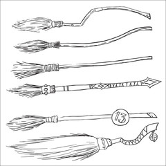 set of witch brooms for halloween. doodle vector illustration