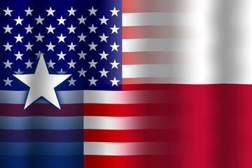 Waving USA and Texas State Flag