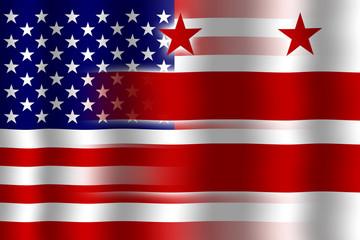 Waving USA and Washington DC Flag