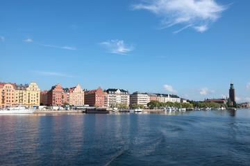 Stockholm- Uferpromenade Norr Mälarstrand und Rathaus