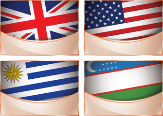 Flags illustration, United Kingdom, USA, Uruguay, Uzbekistan