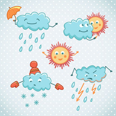 Cartoon weather icons. Funny characters for your design.