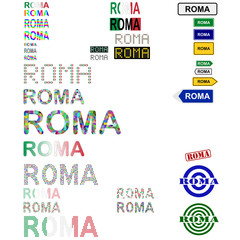 Roma (Rome) text design set