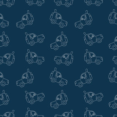 Seamless pattern of sketches of cars.
