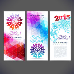 winter banners vector design with colored geometric snowflakes