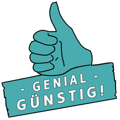 tus146 ThumbUpSign tus-v24 - Genial Günstig - türkis g2246