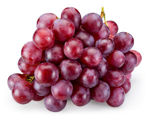 Ripe red grape isolated on white background. With clipping path