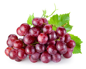 Fototapete - Ripe red grape with leaves isolated on white