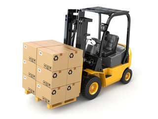 Wall Mural - Forklift truck with boxes on pallet. Cargo.